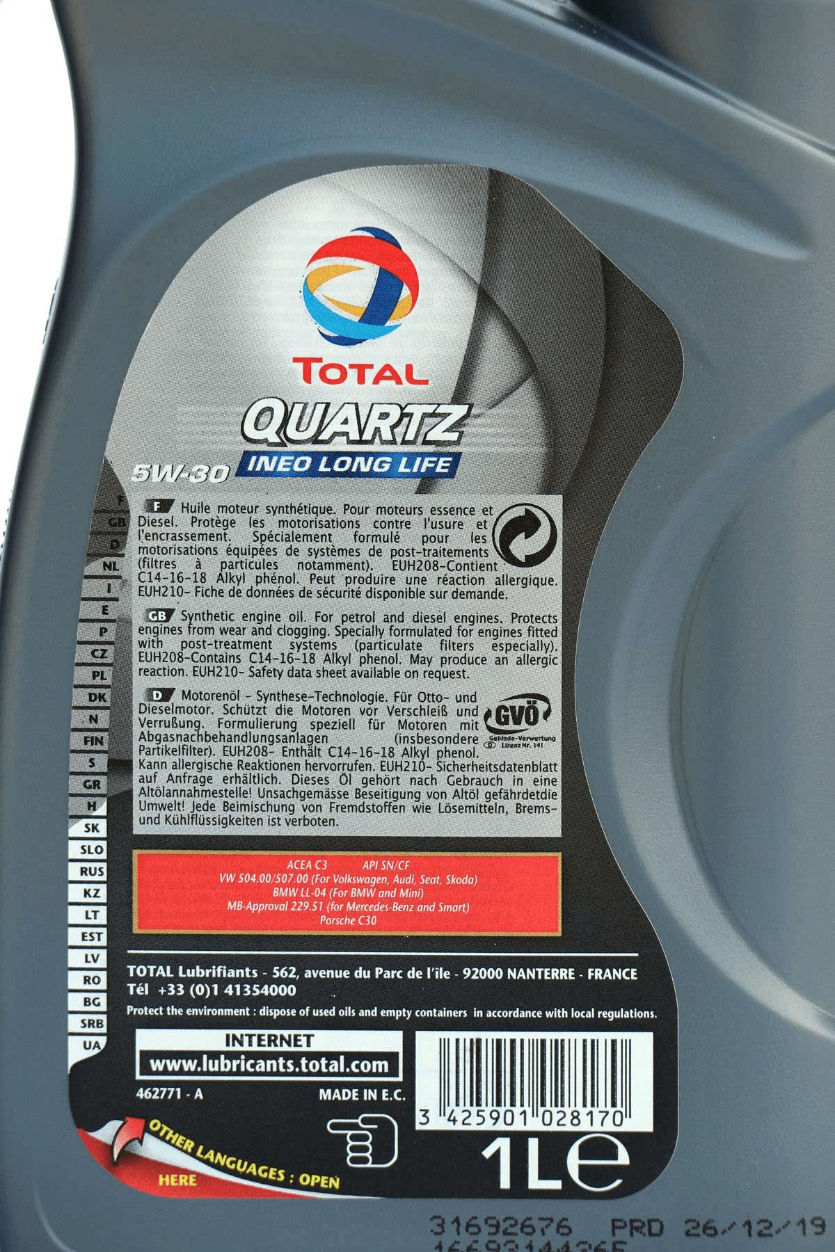 Total Quartz INEO LONG LIFE 5W-30 Motoröl, 1l
