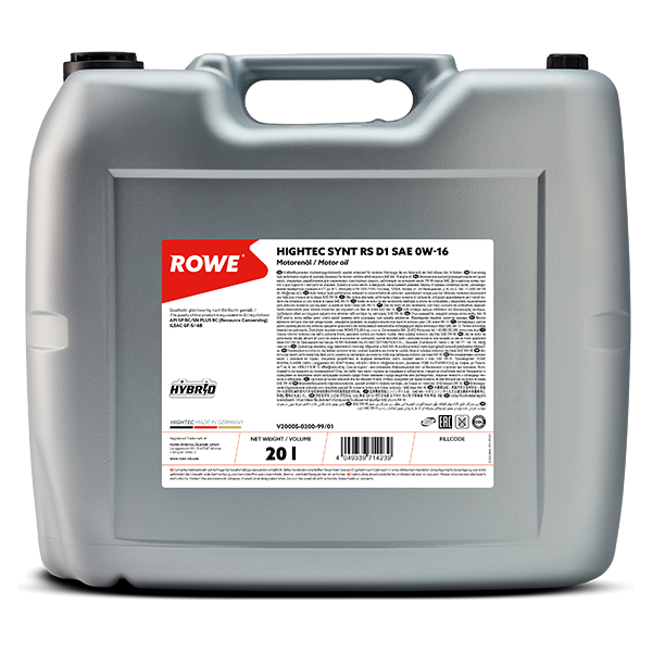 Rowe Hightec Synt RS D1 SAE 0W-16 Motoröl, 20l