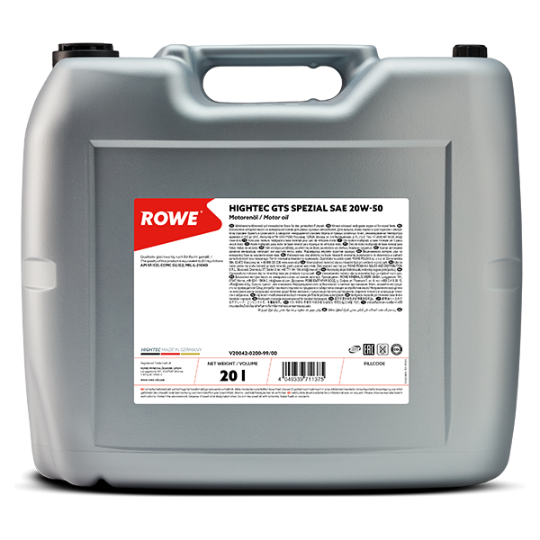Rowe Hightec GTS SPEZIAL SAE 20W-50 Motoröl, 20l