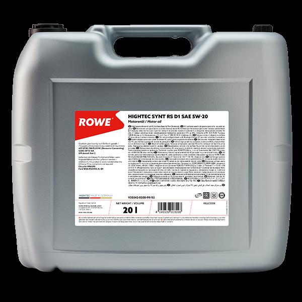 Rowe Hightec Synt RS D1 SAE 5W-20 Motoröl, 20l