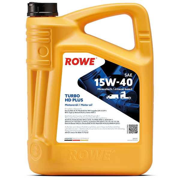 Rowe Hightec Turbo HD SAE 15W-40 PLUS Motoröl, 5l