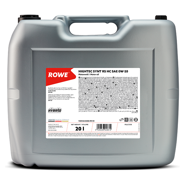 Rowe Hightec Synt RS HC SAE 0W-20 Motoröl, 20l